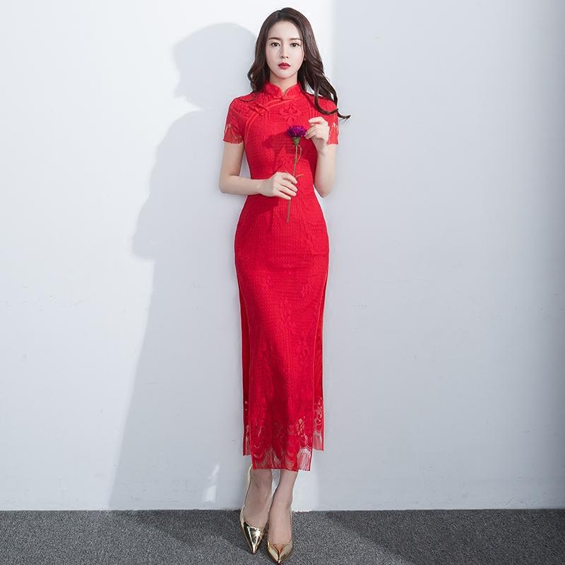 中国风红色结婚旗袍敬酒服新娘修身-勾勾手指头图片