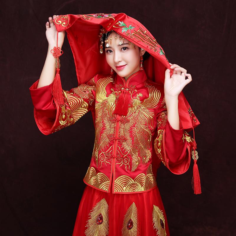 新娘盖头中式婚礼结婚红盖头秀禾服刺绣铜钱流苏喜盖婚庆用品