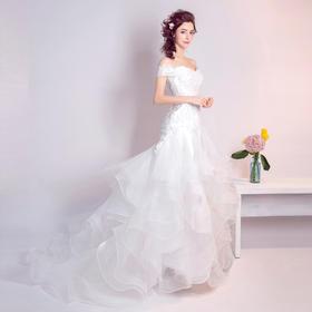 嘉佳节娜 性感修身一字肩摩登几何剪裁 鱼尾拖尾新娘婚纱