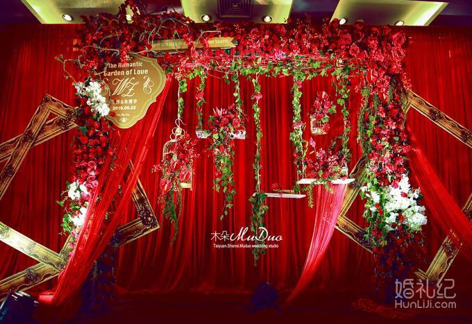 [木朵]红金色浪漫鲜花欧式复古小花园风格婚礼