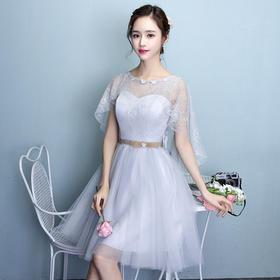 伴娘服短款 新款韩版灰色伴娘团礼服姐妹裙修身宴会晚