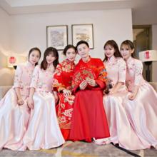 中式伴娘服 姐妹裙中式婚礼 新款修身复古日常旗袍少女连衣裙