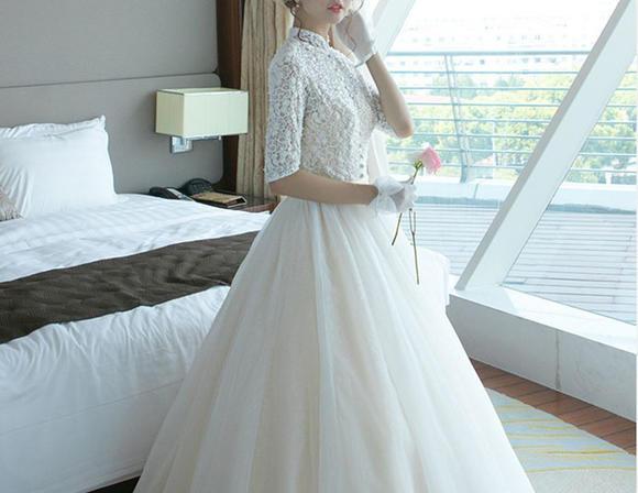 婚纱礼服冬季新款复古立领长袖婚纱公主婚礼结婚齐地24