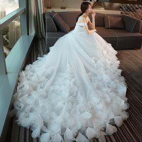 婚纱礼服新款新娘结婚韩式一字肩大长拖尾奢华宫廷婚纱春夏季