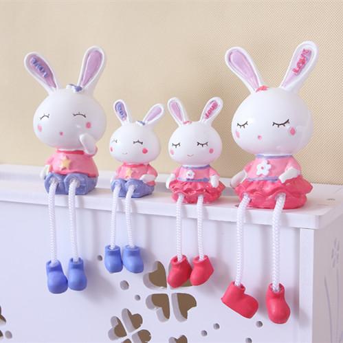 吊脚娃娃摆件结婚礼物可爱兔兔四口之家工艺摆件装饰品