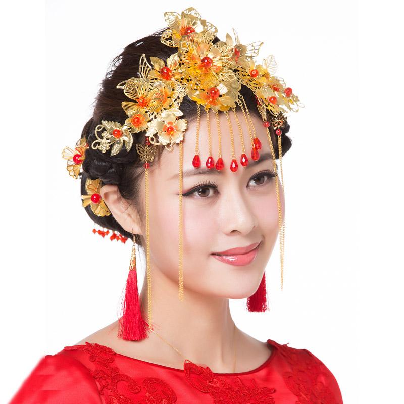 中式新娘古装头饰 礼服旗袍配饰 秀禾服秀和服龙凤褂