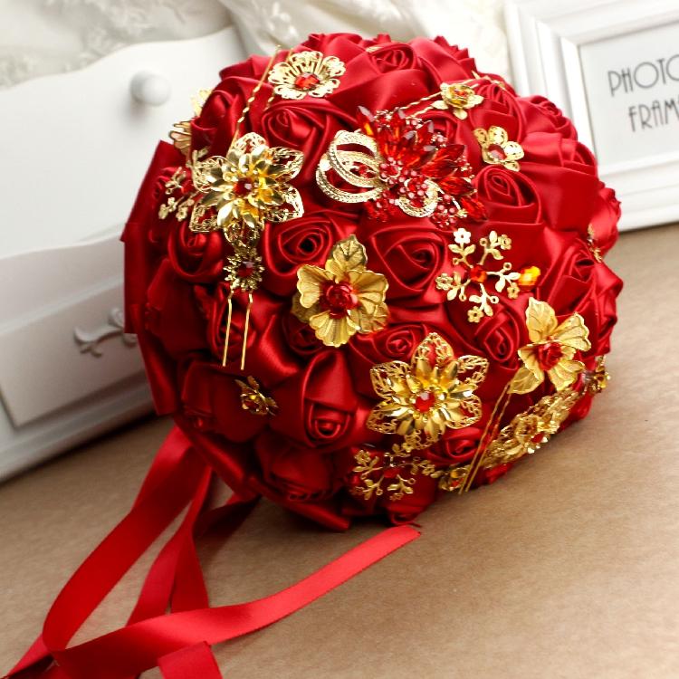 红色中国风胸花手捧花中式婚礼手捧新娘手捧花秀禾配饰手捧花图片