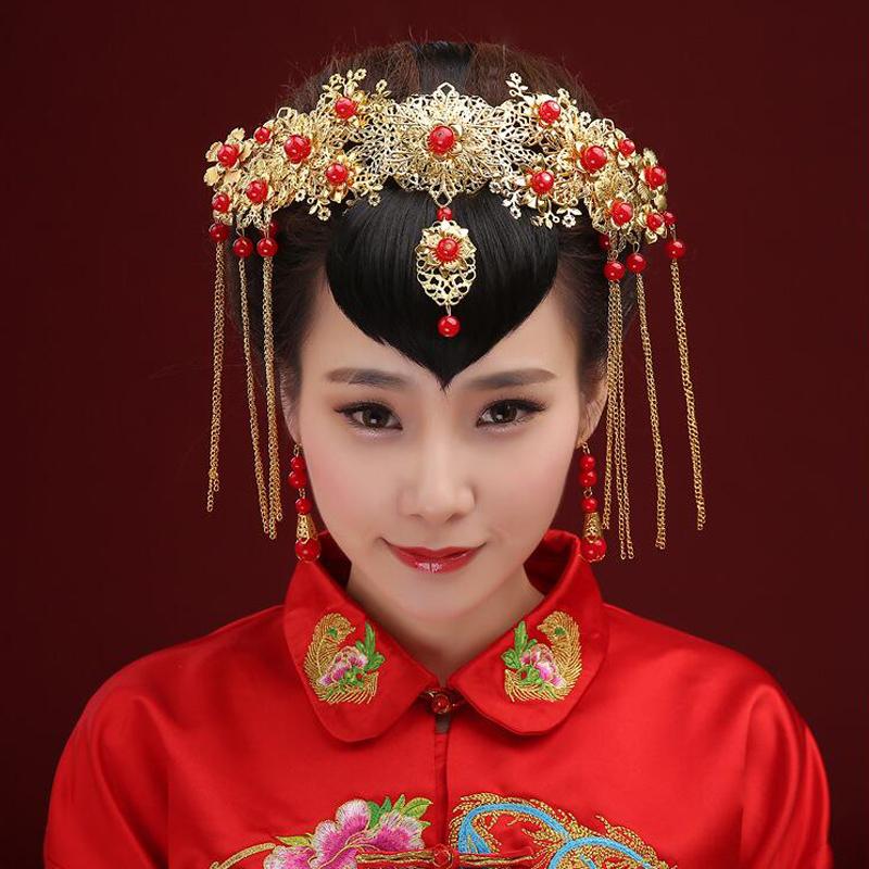 新娘头饰套装中式婚礼凤冠发饰龙凤褂秀禾服购买秀禾
