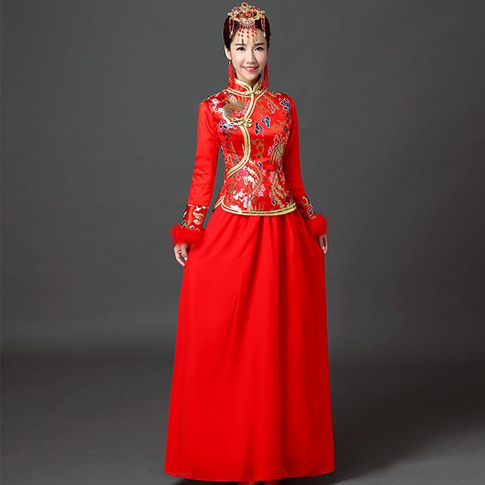 新娘旗袍秋冬季礼仪服装红色新款中式复古结婚敬酒服婚礼长袖65图片