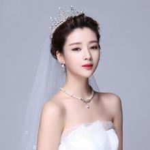 新娘头饰皇冠项链耳环三件套韩式结婚发饰套装公司年会婚纱配饰品