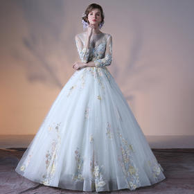 婚纱礼新款秋冬季新娘结婚彩纱奢华长拖尾一字肩韩式长袖