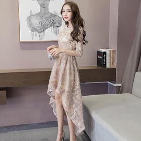 春装新款女装韩版时尚蕾丝连衣裙长裙春秋款显瘦晚礼服裙子