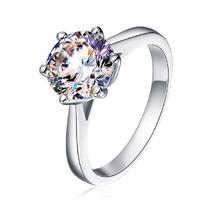 比利时进口经典六爪结婚钻戒仿真钻纯银镀铂金女戒指 定制18K