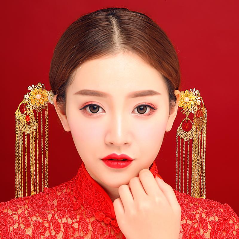中式新娘古装头饰金色流苏凤冠发箍婚礼秀禾服饰品原创结婚发饰品