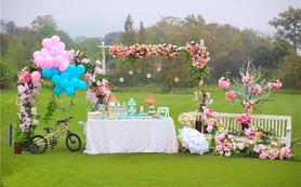 乐蜜婚礼|蓝粉色小森系户外婚礼|【人气】