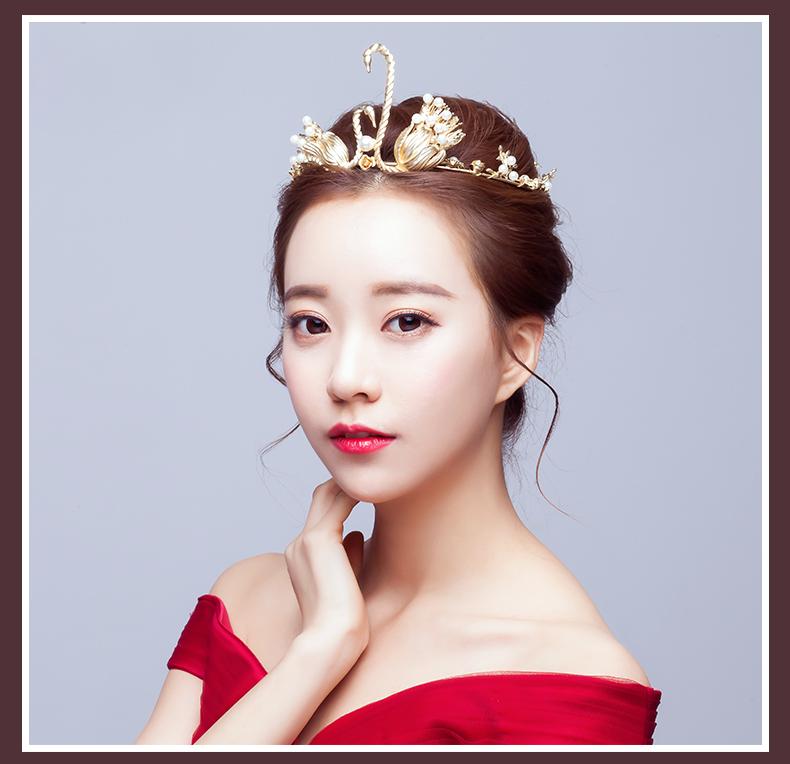 新娘复古头饰金色皇冠天鹅韩式婚纱发饰摄影盘发造型配饰结婚饰品