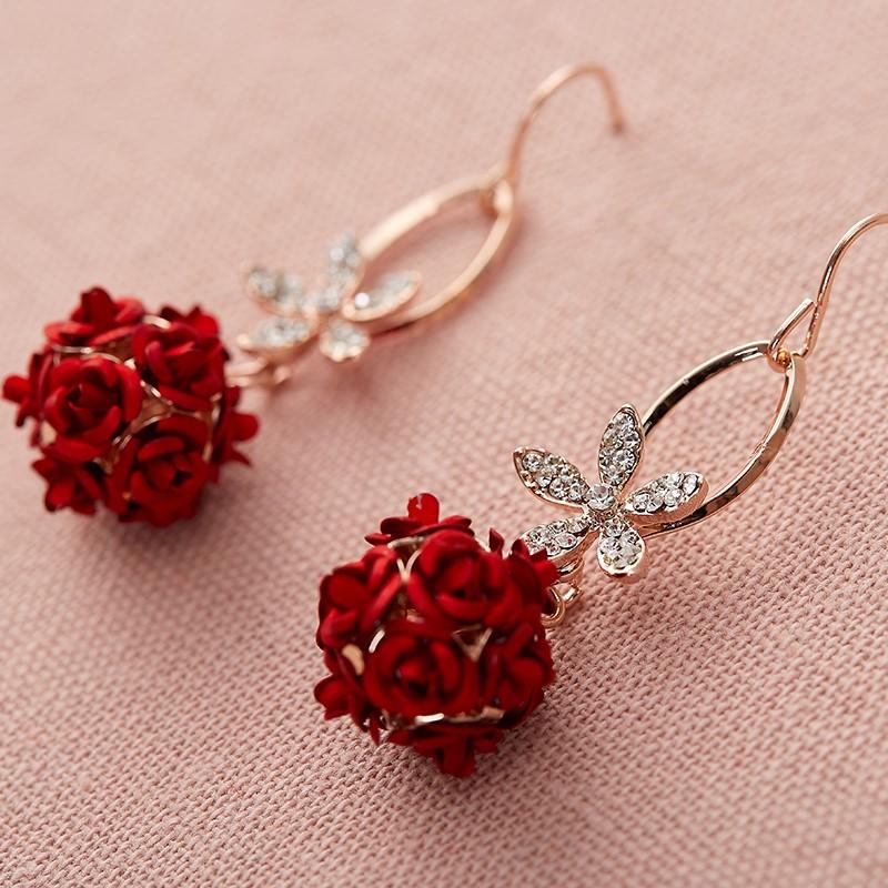 韩式耳坠耳环 新娘红色耳饰品中式复古结婚