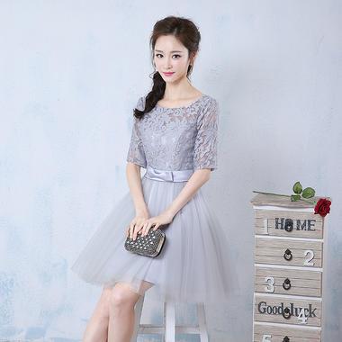 新款!伴娘时尚连衣裙中袖修身显瘦短裙