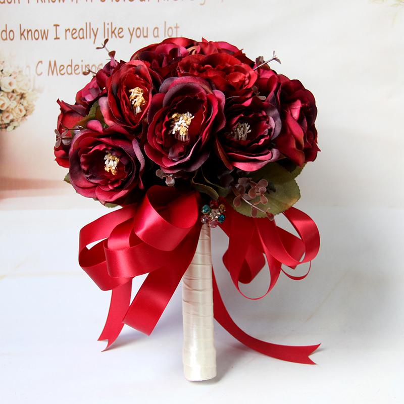 结婚用品 手捧花 >个性结婚手捧花 新娘伴娘花球 复古玫瑰花   105.