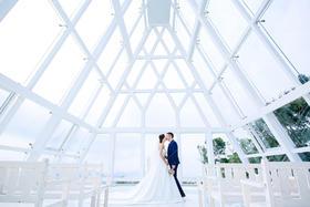 小清新玻璃教堂婚纱照客片