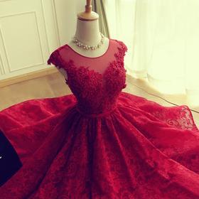 春季新款婚纱礼服新娘敬酒服红色结婚晚礼服