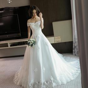 婚纱礼服新款新娘结婚韩式奢华一字肩长拖尾修身显瘦齐地公主