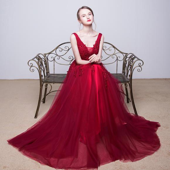 新娘敬酒服孕妇v领长款晚礼服 新款结婚长裙宴会高贵气质