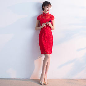 敬酒服旗袍短款 新款夏季中式立领修身红色连衣裙新娘结婚