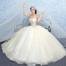 【送婚饰8件套】抹胸婚纱 春夏季流行新款新娘时尚香槟色