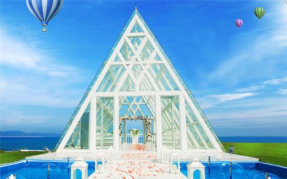 9999超值海边2人水晶礼堂婚礼套系+布置+场地