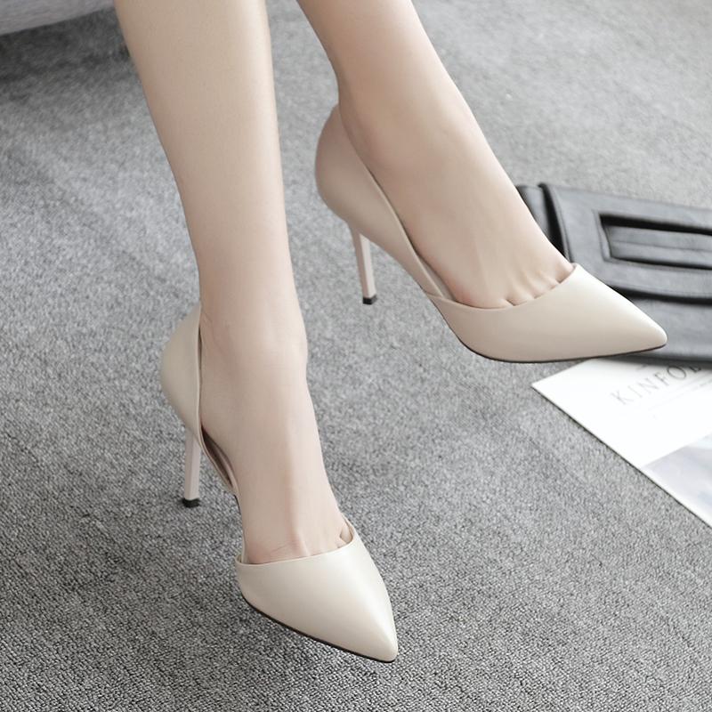 春季新款33码尖头高跟鞋单鞋米白色细跟女鞋婚鞋伴娘鞋新娘猫跟