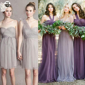 伴娘服长款姐妹裙姊妹装大码显瘦短款小礼服绑带宴会晚礼服连衣裙