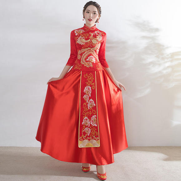 送耳环!春夏新款结婚敬酒服红色修身中式龙凤褂女