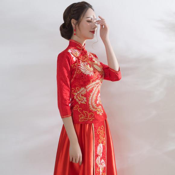 春夏新款结婚敬酒服红色修身中式龙凤褂