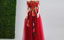 嘉佳节娜 复古浪漫酒红色樱花刺绣新娘结婚敬酒长款婚纱礼服