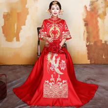 秀禾服新娘2018新款中式婚纱礼服红色结婚敬酒服旗袍秀和服龙