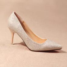 千颂伊同款水晶鞋金色婚鞋新娘小码银色高跟鞋细跟尖头亮片单鞋女