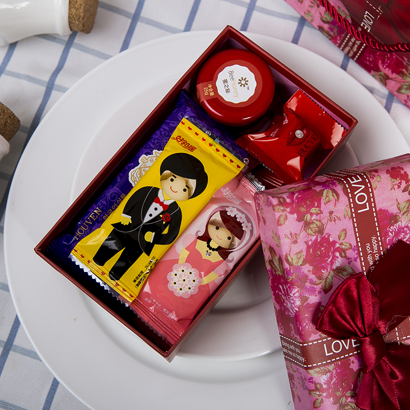 定制 高档满月百天周岁十岁生日创意喜糖盒结婚回礼小礼品套装成