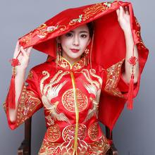 吉祥喜字!2017新娘结婚红盖头中式刺绣缎面盖头
