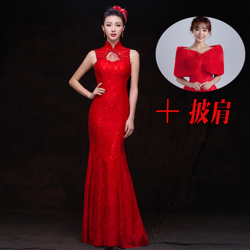 晚礼服新款鱼尾新娘敬酒服长款修身红色结婚立领旗袍礼服