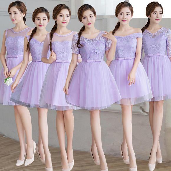 伴娘服短款 新款一字肩抹胸伴娘礼服姐妹裙修身显瘦连衣裙