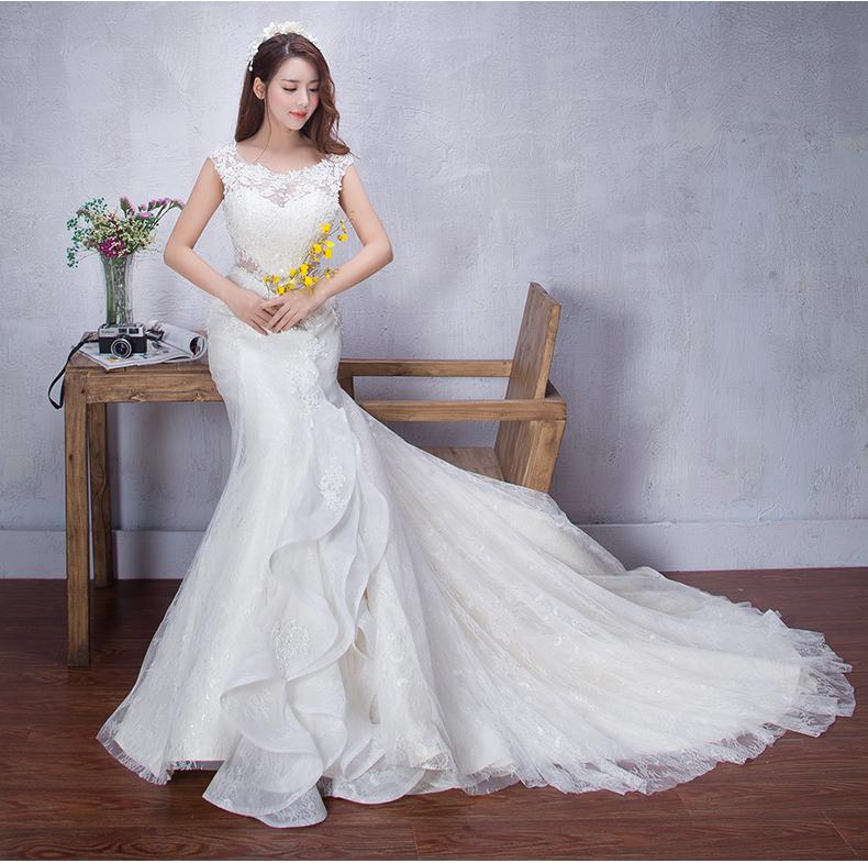 奢华新娘婚纱欧式长拖尾鱼尾大拖尾修身韩式宫廷婚纱