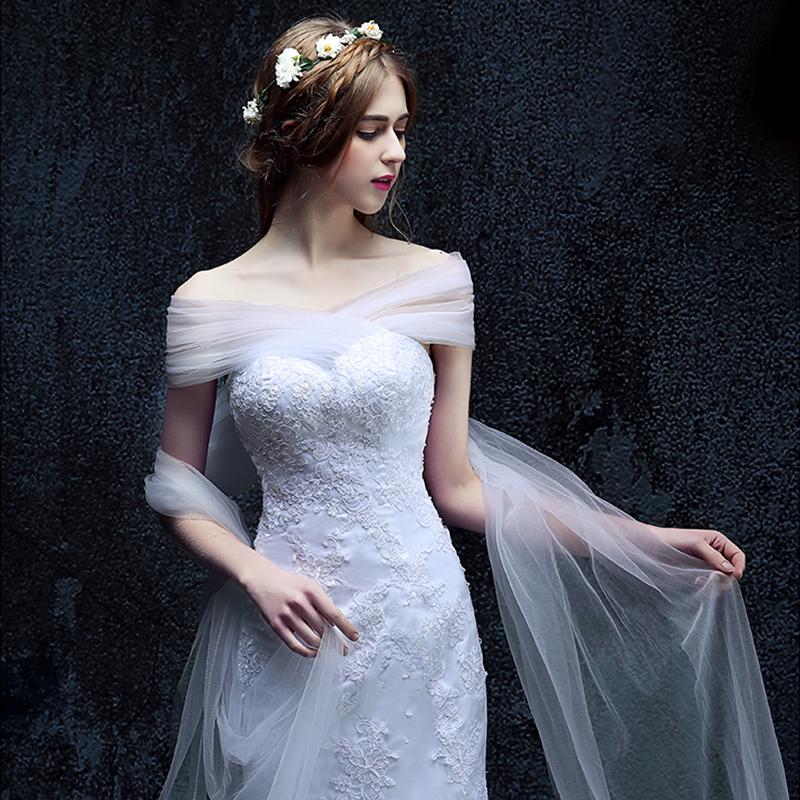 收腰鱼尾婚纱礼服2017新款新娘一字肩结婚拖尾显瘦欧式30