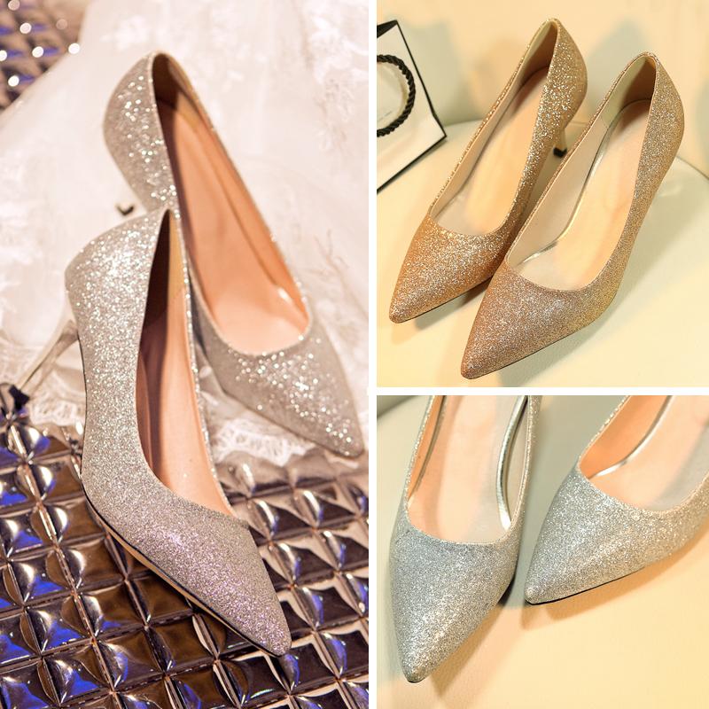 水晶婚纱鞋2017新款女夏新娘鞋银色香槟色闪闪婚鞋高跟婚礼鞋