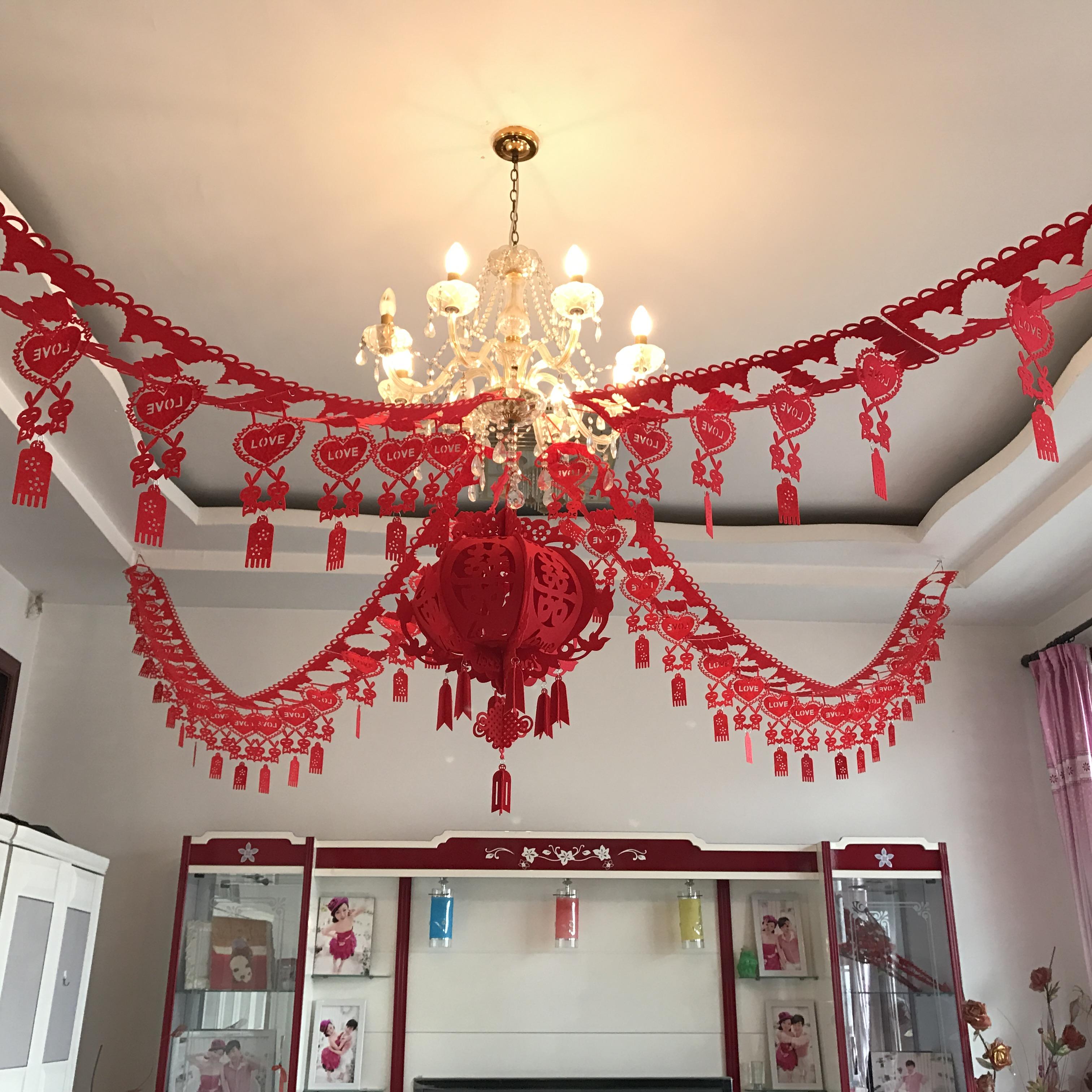 红鑫品创意婚房婚礼装饰客厅无纺布喜字拉花彩带婚庆立体灯笼