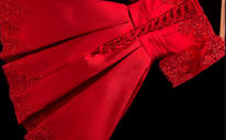 新款新娘结婚敬酒服一字肩小礼服短款伴娘服红色晚礼服大码4