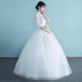婚纱礼服新款春夏季立领新娘齐地孕妇修身一字肩韩式拖尾婚纱