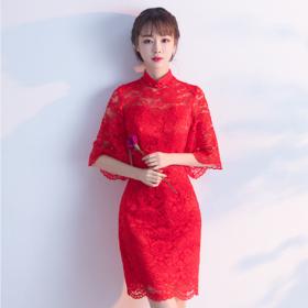 敬酒服新娘旗袍 新款夏季红色时尚短款女中国风中式结婚