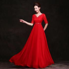 孕妇胖MM新娘结婚敬酒服晚礼服 新款红色长款孕妇高腰