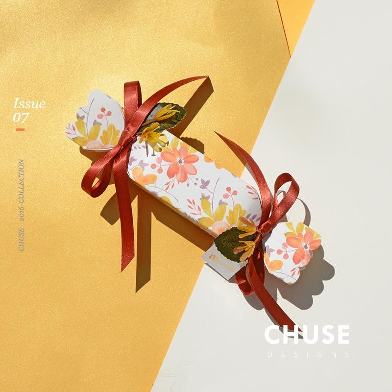 新品撞色印花创意喜糖盒 欧式婚庆用品森系糖果盒子个性婚庆用品